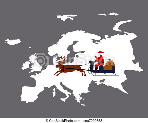 Santa Claus is riding with his reindeer sleigh high above the european continent - csp7292658