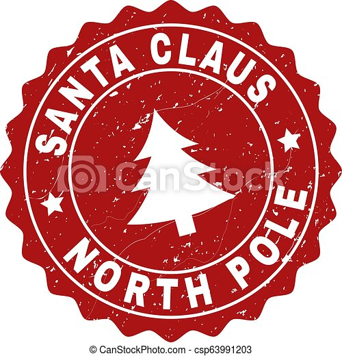 SANTA CLAUS NORTH POLE Scratched Stamp Seal with Fir-Tree - csp63991203