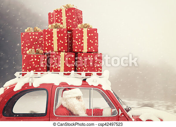 Santa Claus on a red car full of Christmas present - csp42497523