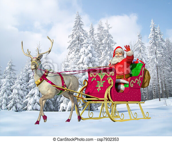 Santa Claus on his sleigh and reindeer - csp7932353