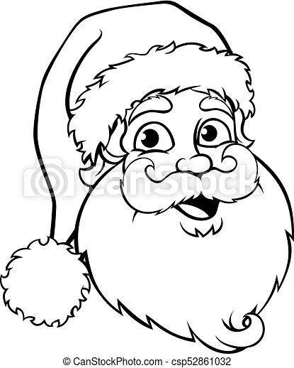 Christmas Images Black And White.Santa Claus Outline