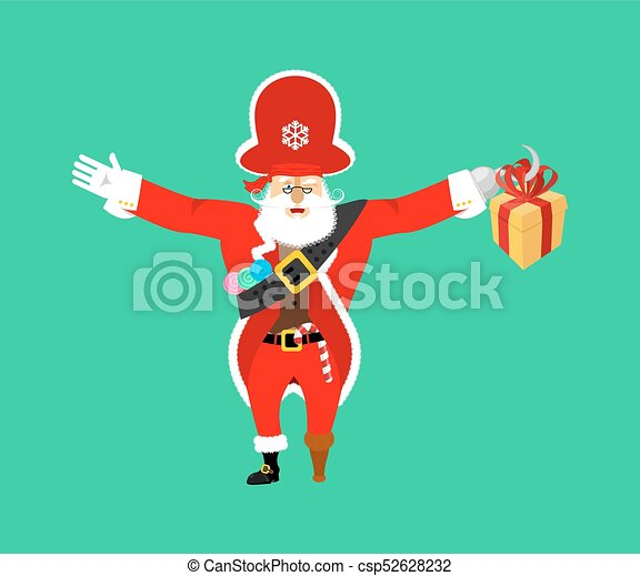 9189a226d928b Santa Claus pirate. Christmas buccaneer. Gift box. Hook and wooden leg. New  Year. Vector illustration
