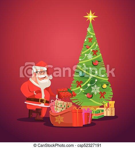 santa claus puts presents under christmas tree vector flat illustration - Santa Claus With Presents