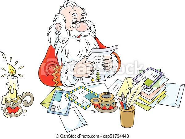 Santa claus reading letters vector illustration of father christmas santa claus reading letters csp51734443 spiritdancerdesigns Choice Image