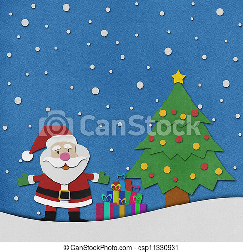 santa claus recycled paper craft on paper background csp11330931 - Santa Claus Craft