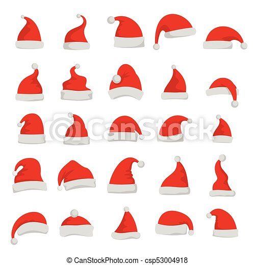 Christmas santa claus red cartoon hats vector set isolated on white ... ec85257c7950