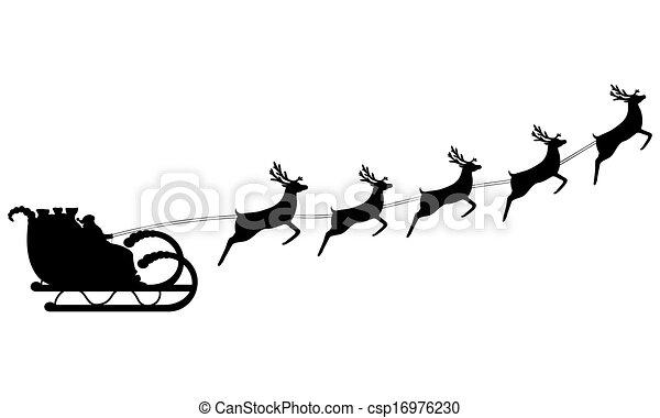 Santa Claus rides in a sleigh  - csp16976230