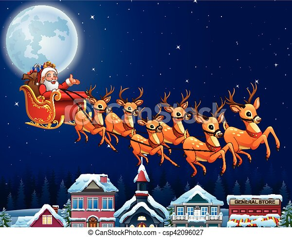vector illustration of santa claus riding his reindeer sleigh flying