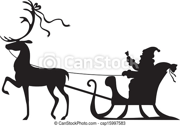 santa claus riding on a deer sleigh silhouette of santa vector rh canstockphoto com free santa & sleigh clipart santa sleigh clipart free