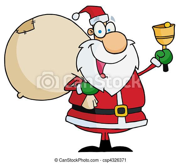 Santa Claus Ringing A Bell - csp4326371