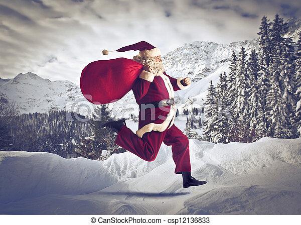 santa claus running - csp12136833