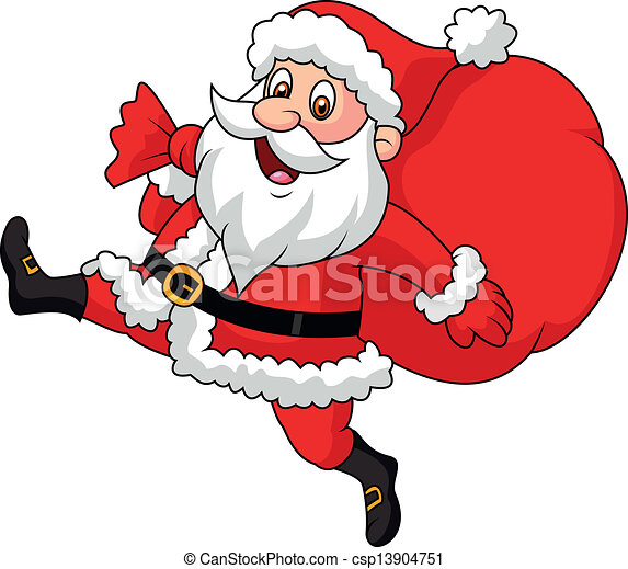 santa claus running with the bag of vector illustration of santa rh canstockphoto com santa claus clipart black and white santa claus clip art images