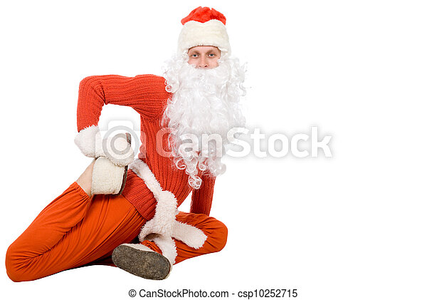 Santa Claus sit on half twine and stretching - csp10252715