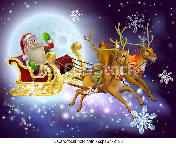 santa claus sleigh christmas scene csp16772135 - Santa Claus And Reindeers