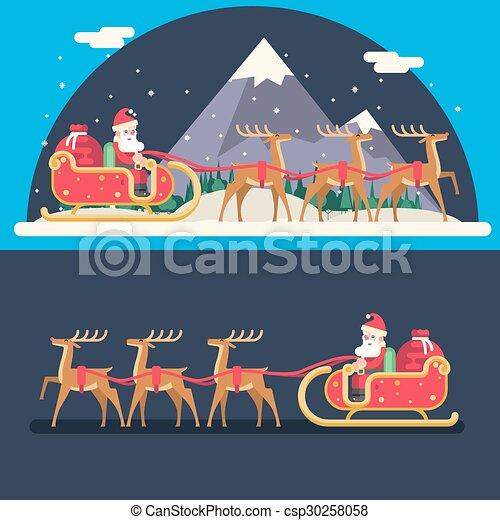 Santa Claus Sleigh Reindeer Gifts Winter Snow Landscape New Year