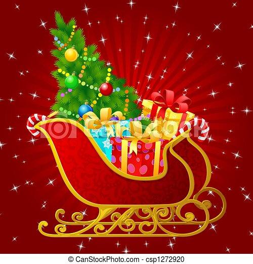 santa claus sleigh with presents csp1272920 - Santa Claus With Presents