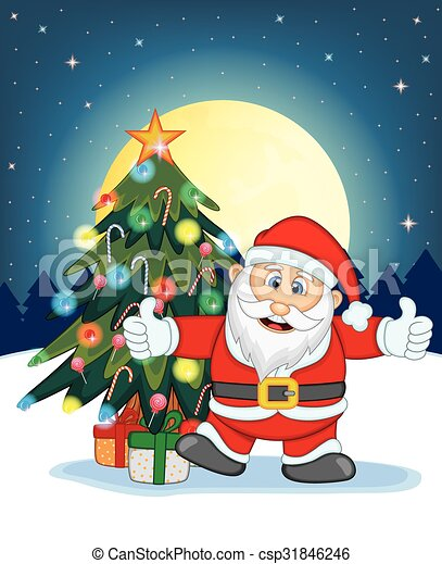 Download Santa Claus Drawing With Christmas Tree