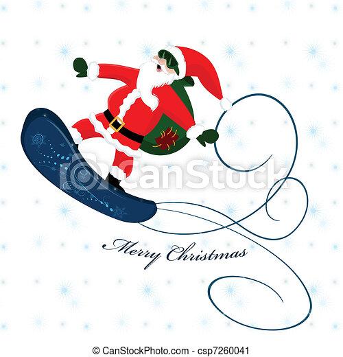 Santa Claus en snowboard - csp7260041