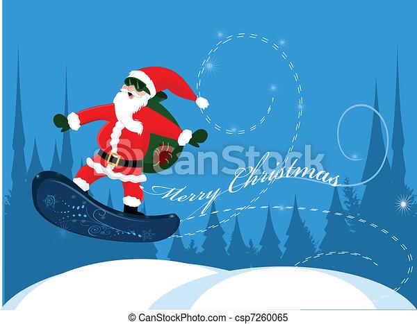 Santa Claus en snowboard - csp7260065