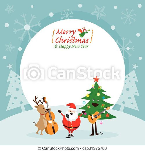 Santa claus, snowman, reindeer, playing music frame. Characters ...