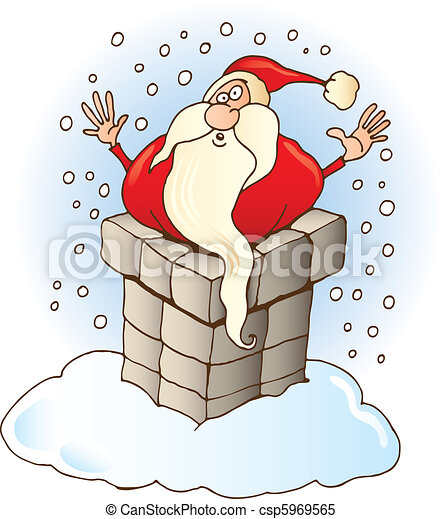 santa claus stuck in chimney csp5969565