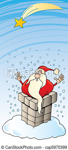 Santa Claus stuck in chimney - csp5970399