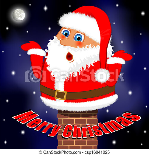 Funny Merry Christmas.Santa Claus Stuck In Chimney