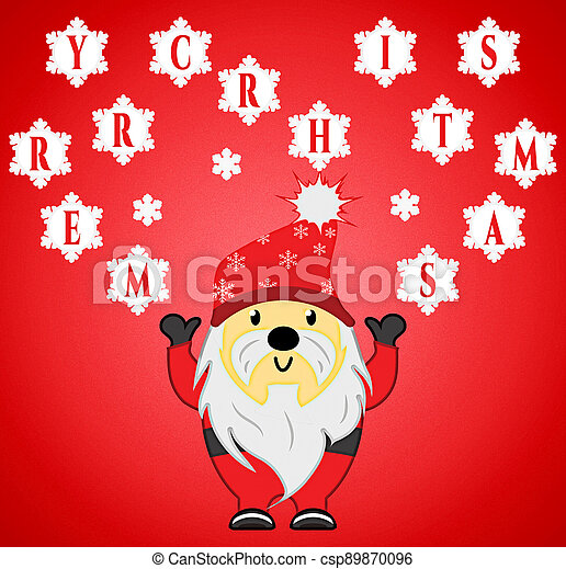 Santa Claus Throwing Merry Christmas Snowballs for Isolation - csp89870096