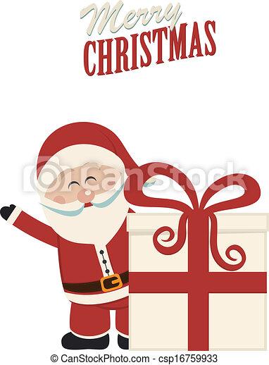 santa claus wave behind christmas gift - csp16759933