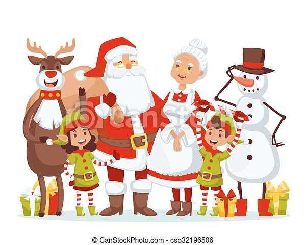 santa claus wife and kids cartoot family vector santa vector rh canstockphoto com angry wife clipart wife clipart
