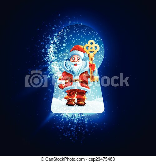 Santa Claus with a golden key in the keyhole - csp23475483