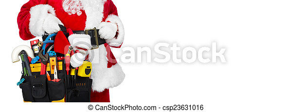 Santa Claus with a tool belt. - csp23631016