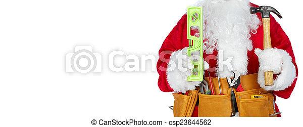 Santa Claus with a tool belt. - csp23644562