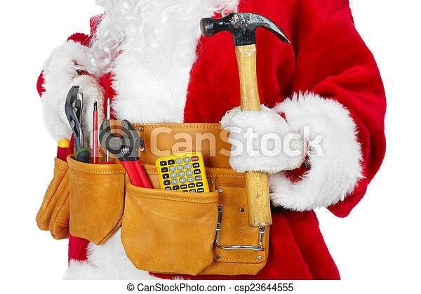 Santa Claus with a tool belt. - csp23644555