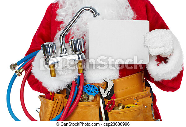 Santa Claus with a tool belt. - csp23630996