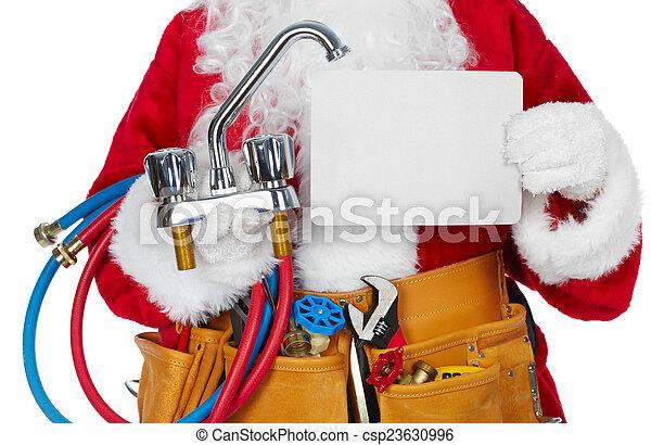 Santa Claus with a tool belt. - csp23630996