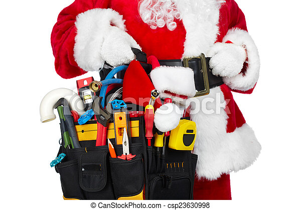 Santa Claus with a tool belt. - csp23630998