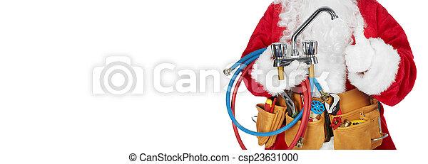 Santa Claus with a tool belt. - csp23631000