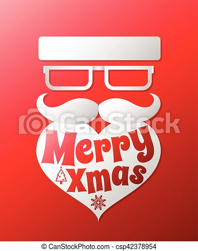Santa claus with beard vector illustration .Christmas hipster poster for party or greeting card. Vector art design background. - csp42378954