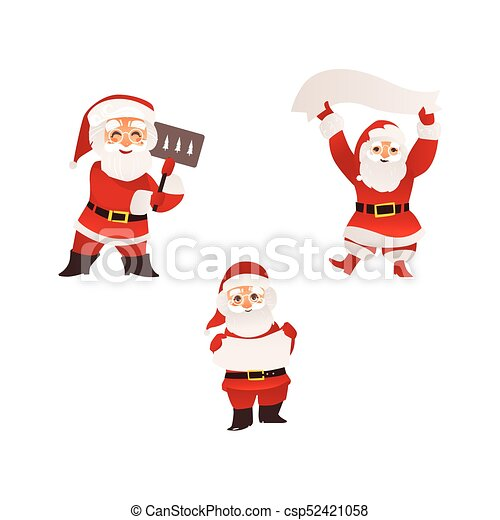 santa claus with christmas banner sign board set of funny santa