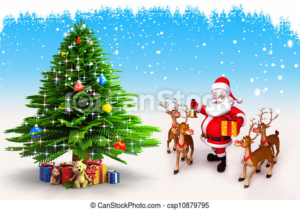 3d Art Illustration Of Santa Claus With Christmas Tree