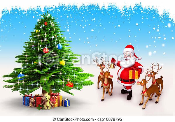 santa claus with christmas tree csp10879795 - Santa Claus Tree