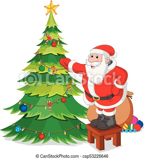 Illustration Of Santa Claus With Christmas Tree
