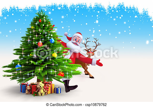 santa claus with christmas tree csp10879762