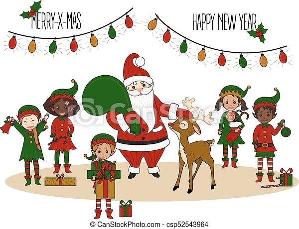 santa claus with elves and deer christmas card csp52543964 - Elf Christmas Card