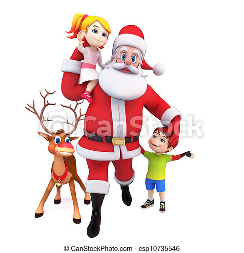 santa claus with gift and kids csp10735546 - Santa Claus For Kids