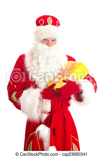 Santa Claus with gift. Isolated on white. - csp23680341