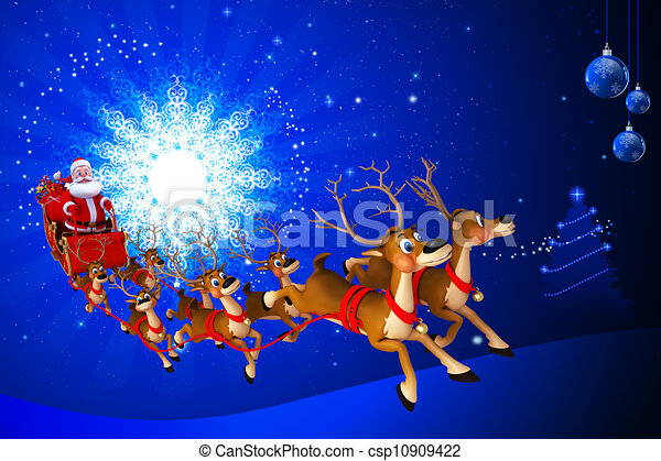 3d art illustration of santa claus with his sleigh