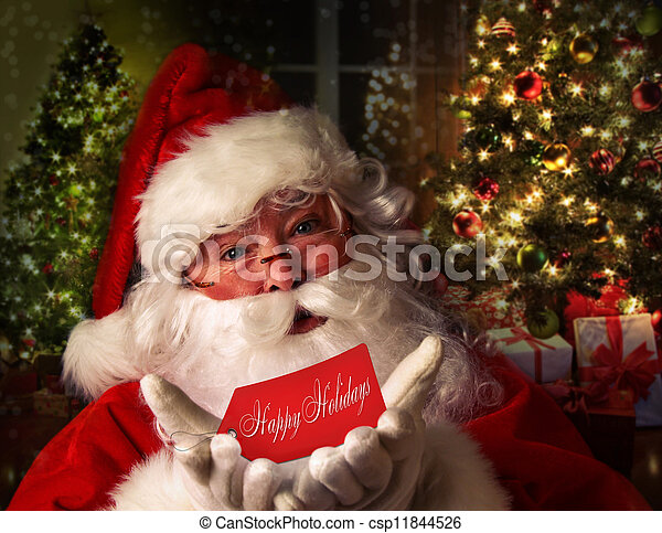 Santa Claus with holiday background - csp11844526