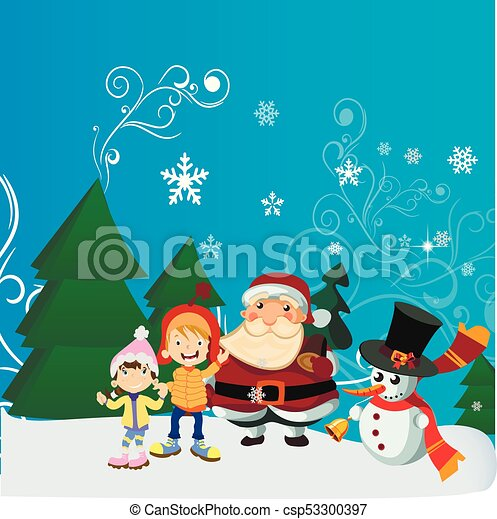 Christmas Scene Drawing For Kids.Santa Claus With Kid In Christmas Snow Scene